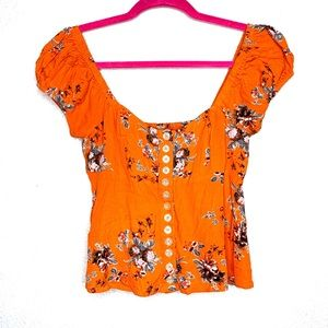 Free people close to you smocked blouse top